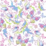 Leuk bloemen naadloos patroon met roze en blauwe vlinders Decoratieve ornamentachtergrond voor stof, textiel, verpakkend document royalty-vrije illustratie