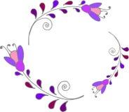 Leuk bloemenkader, kleurrijke purpere bloemenkroon, het vector bloemenkader van de klemkunst Royalty-vrije Stock Fotografie