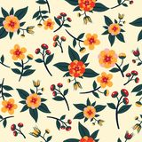 Leuk Bloemenpatroon in de kleine bloem Naadloze vector gele achtergrond stock afbeeldingen