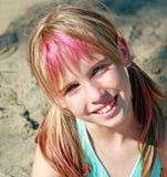Leuk blond meisje met blauwe ogen Stock Foto