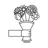 Leuk boeket van het pictogram van de bloemenaard Stock Foto