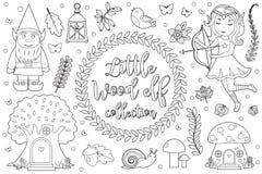 Leuk boselfkarakter - vastgestelde Kleurende boekpagina voor jonge geitjes Inzameling van de stijl van het de schetsoverzicht van royalty-vrije illustratie