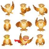 Leuk Bruin Owl Emoji Icon Set Royalty-vrije Stock Afbeelding