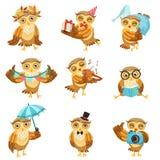 Leuk Bruin Owl Everyday Activities Icon Set Stock Afbeeldingen