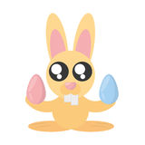 Leuk Bunny With Easter Eggs stock illustratie