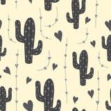 Leuk cactus naadloos patroon met harten in grijze kleur Natuurlijke vectorachtergrond Stock Foto