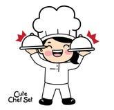 Leuk chef-kokkarakter - reeks Vecterelement vector illustratie