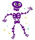 Leuk dansend skelet dat op wit wordt geïsoleerds Royalty-vrije Stock Foto's