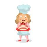 Leuk de chef-kokkarakter die van het beeldverhaalmeisje een Illustratie van de aardbeicake houden Stock Fotografie