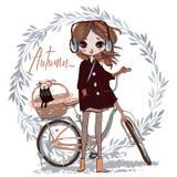 Leuk de herfstmeisje met kat stock illustratie