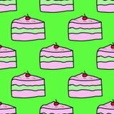 Leuk de herhalingspatroon van de cakes sweety kers seamles royalty-vrije illustratie