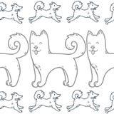 Leuk de hond hand-drawn karakter van de beeldverhaalkrabbel Stock Fotografie