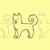 Leuk de hond hand-drawn karakter van de beeldverhaalkrabbel Stock Afbeelding