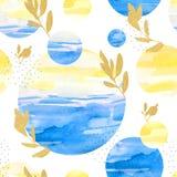 leuk de illustratiepatroon van de kinderens waterverf De zomer royalty-vrije illustratie