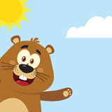 Leuk de Mascottekarakter die van het Marmotbeeldverhaal van Hoek golven Stock Foto's