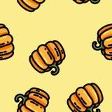 Leuk de pompoen naadloos patroon van de beeldverhaal vlak stijl stock illustratie