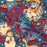 Leuk de winter naadloos patroon met sneeuwman en ski Stock Afbeeldingen