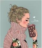 Leuk de wintermeisje met koffiekop royalty-vrije illustratie