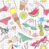 Leuk de zomer abstract patroon. Naadloos patroonverstand Stock Foto's