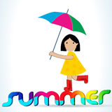 Leuk de zomermeisje met paraplu vector illustratie