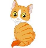 Leuk die kattenbeeldverhaal op witte achtergrond wordt geïsoleerd royalty-vrije illustratie