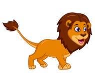Leuk die leeuwbeeldverhaal op witte achtergrond wordt geïsoleerd stock illustratie
