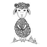 Leuk die werpt weinig de schapen vector grafische hand getrokken illustratie van het lamsbeeldverhaal, inkt skethc ooi op witte a stock illustratie