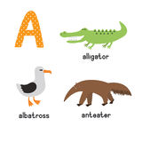 Leuk dierentuinalfabet in vector Een Brief Grappige beeldverhaaldieren: Albatros, alligator, miereneter vector illustratie