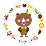 Leuk draag en snoepjes Het circus toont illustratie T-shirtgrafiek Royalty-vrije Stock Foto's