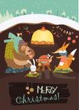 Leuk draag met konijn en vos het vieren Kerstmis in zijn hol Royalty-vrije Stock Fotografie