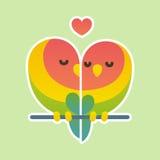 Leuk dwergpapegaaipaar stock illustratie