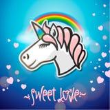 Leuk eenhoorndier, stickers en hand getrokken brieven Stock Afbeelding