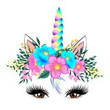 Leuk eenhoorngezicht met bloemen stock illustratie