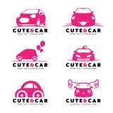 Leuk en autoembleem met roze auto vector vastgesteld ontwerp Stock Afbeelding