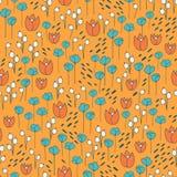 Leuk en in bloemen vectorpatroon met tulpen, papaverbloemen en bessen Royalty-vrije Stock Afbeelding