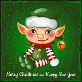 Leuk en gelukkig Kerstmiself Stock Fotografie