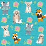 Leuk en grappig dierenpatroon als achtergrond Stock Afbeelding