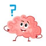 Leuk en grappig, glimlachend menselijk hersenenkarakter, intellectueel, het denken orgaan Royalty-vrije Stock Foto