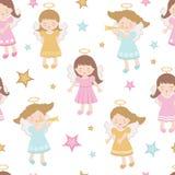 Leuk engelen naadloos patroon royalty-vrije illustratie
