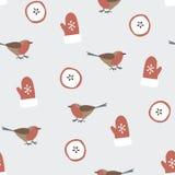Leuk feestelijk de winter naadloos patroon met hand getrokken vinkvogels, gesneden appelen en handschoenen Het ontwerp van Kerstm stock illustratie