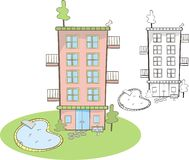 Leuk flatgebouw met pool vector illustratie