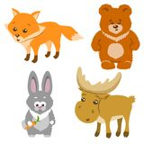 Leuk Forest Animals Cartoon Style Vector illustratie Royalty-vrije Stock Afbeeldingen