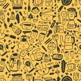 Leuk geel beeldverhaal naadloos patroon Stock Afbeelding