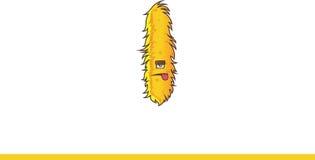 Leuk geel Monster met uit geplakte tong Stock Afbeeldingen