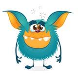 Leuk gelukkig blauw beeldverhaalmonster De vectorillustratie van Halloween Royalty-vrije Stock Foto's