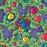 Leuk gelukkig de bloem naadloos patroon van Dino Royalty-vrije Stock Afbeelding