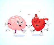 Leuk gelukkig hersenen en hart die samen dansen Royalty-vrije Stock Foto's