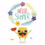 Leuk gelukkig monster in de zomer vector illustratie