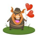 Leuk gelukkig varken omhoog gekleed in zwarte smoking en hoed die zich met wandelstok, grappig beeldverhaaldier bevinden gekleed  vector illustratie