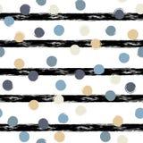 Leuk geometrisch naadloos patroon Stippen en strepen De slagen van de borstel Hand getrokken grunge textuur Abstracte vormen eind stock illustratie